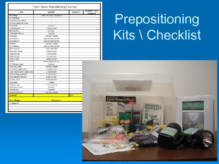 Prepositioning Kits  Checklist