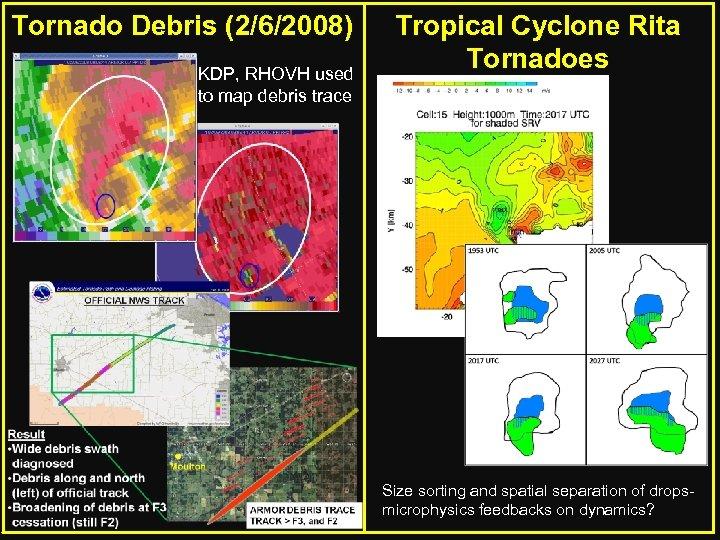 Tornado Debris (2/6/2008) KDP, RHOVH used to map debris trace Tropical Cyclone Rita Tornadoes