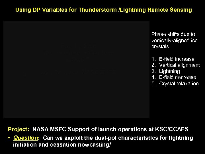Using DP Variables for Thunderstorm /Lightning Remote Sensing Phase shifts due to vertically-aligned ice