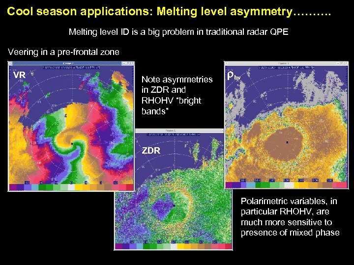 Cool season applications: Melting level asymmetry………. Melting level ID is a big problem in