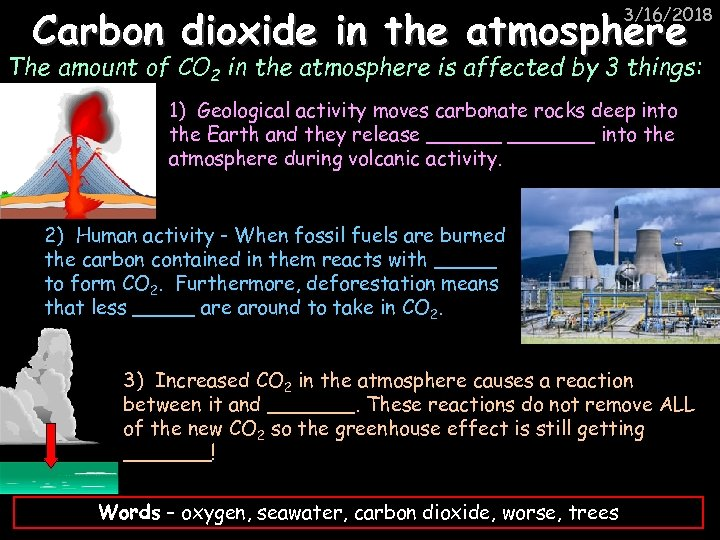 Carbon dioxide in the atmosphere 3/16/2018 The amount of CO 2 in the atmosphere