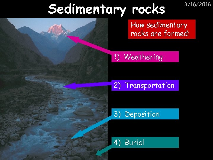 Sedimentary rocks 3/16/2018 How sedimentary rocks are formed: 1) Weathering 2) Transportation 3) Deposition