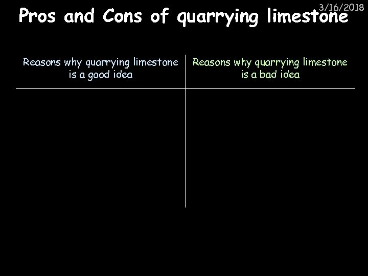 3/16/2018 Pros and Cons of quarrying limestone Reasons why quarrying limestone is a good