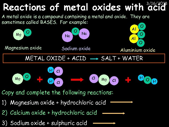Reactions of metal oxides with acid 3/16/2018 A metal oxide is a compound containing