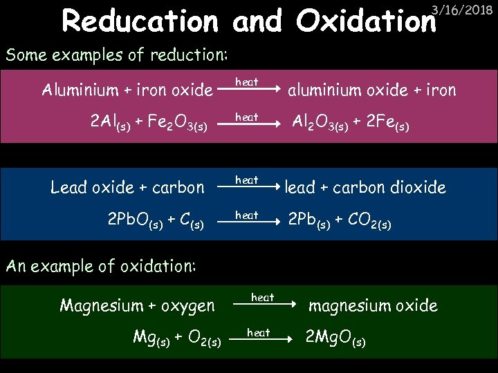 Reducation and Oxidation 3/16/2018 Some examples of reduction: heat aluminium oxide + iron 2