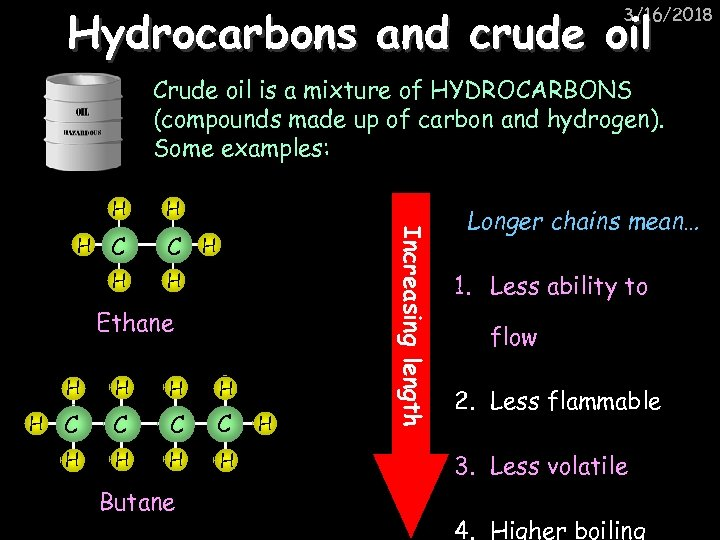 Hydrocarbons and crude oil 3/16/2018 Crude oil is a mixture of HYDROCARBONS (compounds made