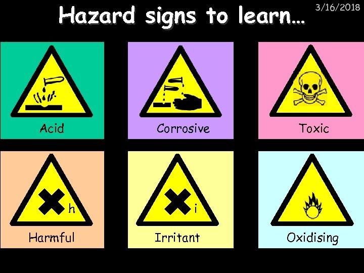 Hazard signs to learn… Acid Corrosive h Irritant Toxic i Harmful 3/16/2018 Oxidising