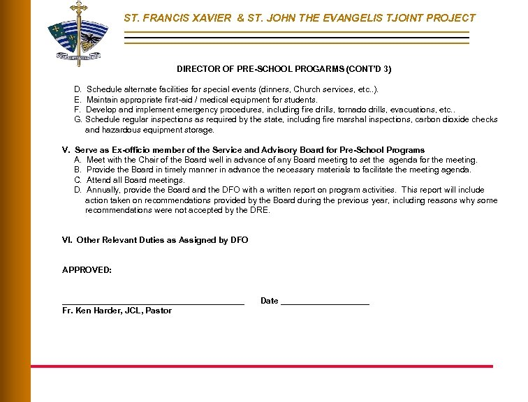 ST. FRANCIS XAVIER & ST. JOHN THE EVANGELIS TJOINT PROJECT DIRECTOR OF PRE-SCHOOL PROGARMS