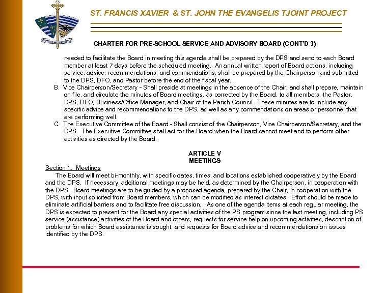 ST. FRANCIS XAVIER & ST. JOHN THE EVANGELIS TJOINT PROJECT CHARTER FOR PRE-SCHOOL SERVICE