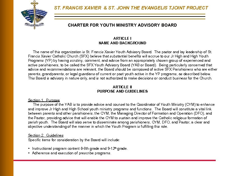 ST. FRANCIS XAVIER & ST. JOHN THE EVANGELIS TJOINT PROJECT CHARTER FOR YOUTH MINISTRY