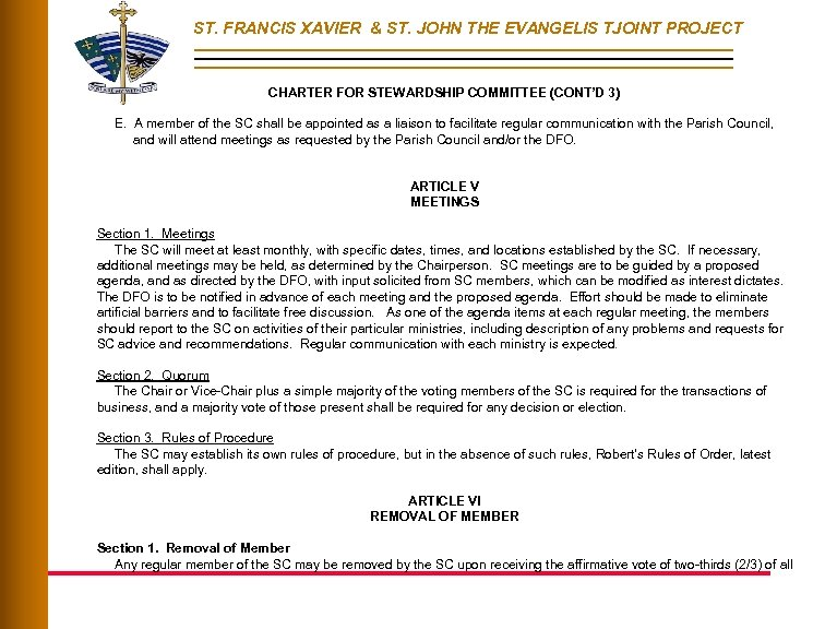 ST. FRANCIS XAVIER & ST. JOHN THE EVANGELIS TJOINT PROJECT CHARTER FOR STEWARDSHIP COMMITTEE