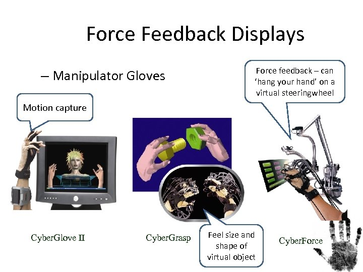 Force Feedback Displays – Manipulator Gloves Force feedback – can 'hang your hand' on