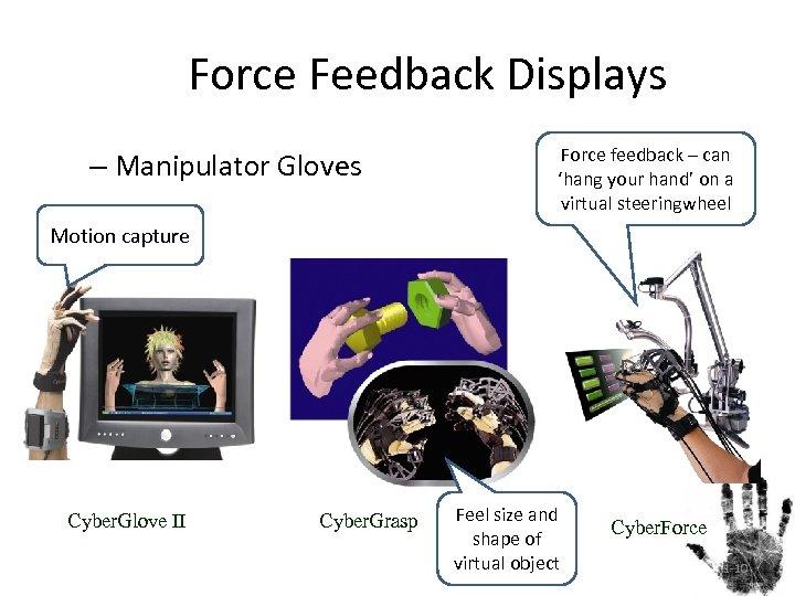 Force Feedback Displays – Manipulator Gloves Force feedback – can 'hang your hand' on