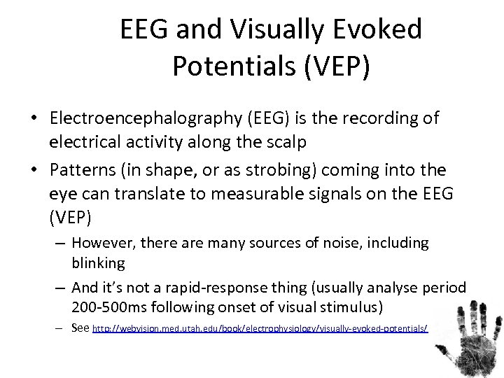 EEG and Visually Evoked Potentials (VEP) • Electroencephalography (EEG) is the recording of electrical