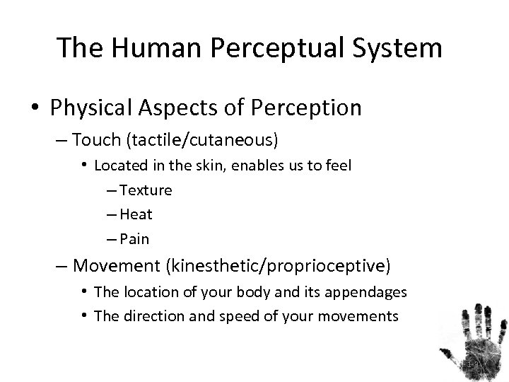 The Human Perceptual System • Physical Aspects of Perception – Touch (tactile/cutaneous) • Located