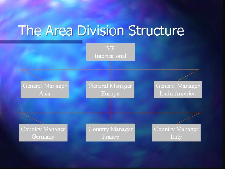 The Area Division Structure VP International General Manager Asia General Manager Europe General Manager