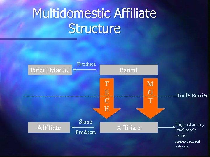 Multidomestic Affiliate Structure Parent Market Product Parent T E C H Affiliate Same Products