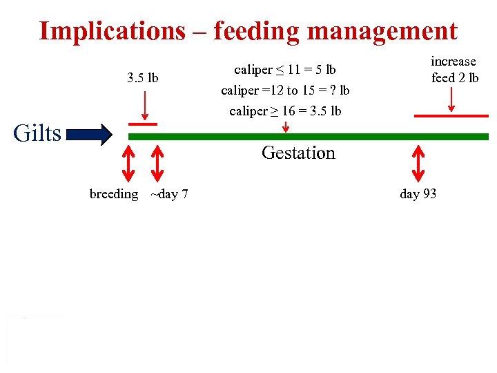 Implications – feeding management 3. 5 lb Gilts caliper ≤ 11 = 5 lb