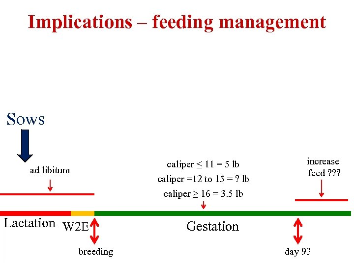 Implications – feeding management Sows caliper ≤ 11 = 5 lb caliper =12 to