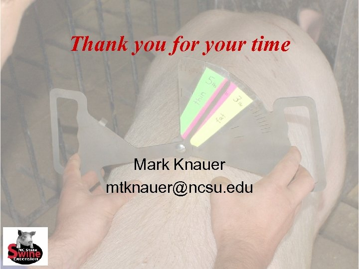 Thank you for your time Mark Knauer mtknauer@ncsu. edu