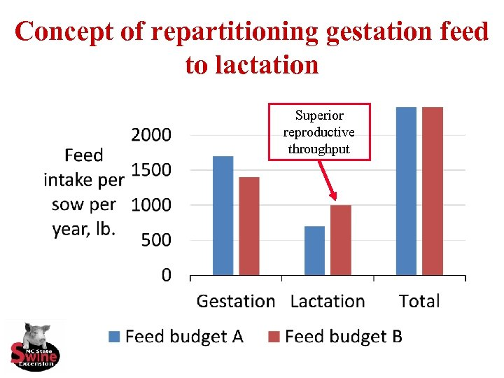 Concept of repartitioning gestation feed to lactation Superior reproductive throughput