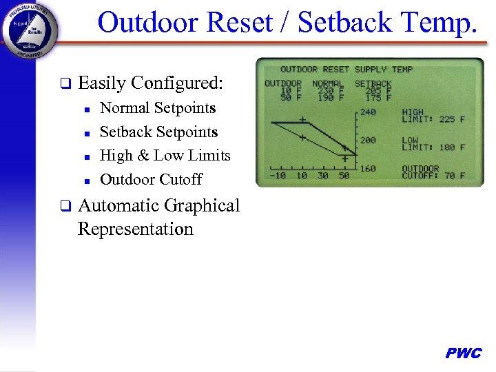 Outdoor Reset / Setback Temp. q Easily Configured: n n q Normal Setpoints Setback