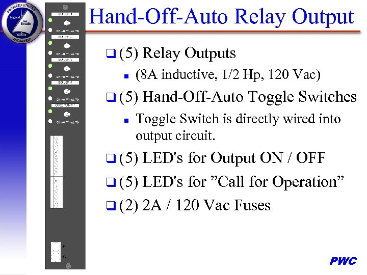 Hand-Off-Auto Relay Output q (5) n (8 A inductive, 1/2 Hp, 120 Vac) q