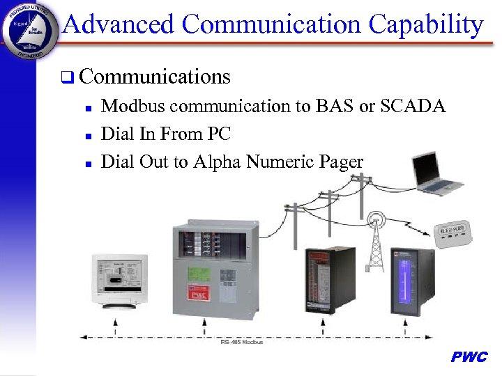 Advanced Communication Capability q Communications n n n Modbus communication to BAS or SCADA