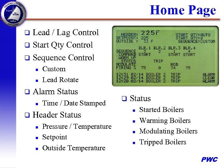 Home Page Lead / Lag Control q Start Qty Control q Sequence Control q