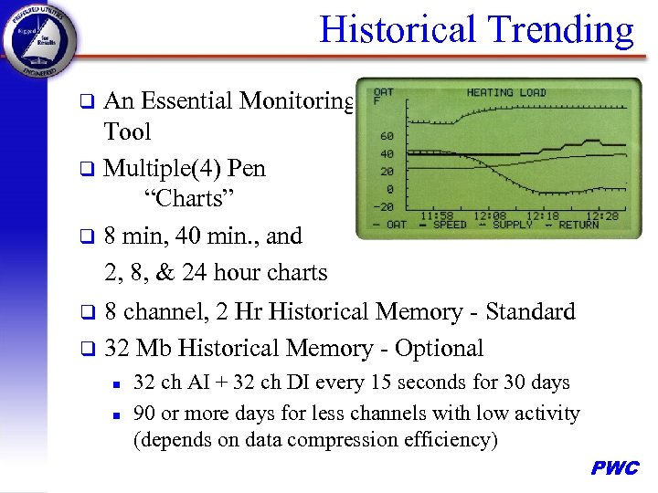 """Historical Trending An Essential Monitoring Tool q Multiple(4) Pen """"Charts"""" q 8 min, 40"""