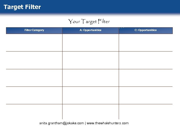 Target Filter Your Target Filter Category A: Opportunities anita. grantham@jokake. com   www. thewhalehunters.