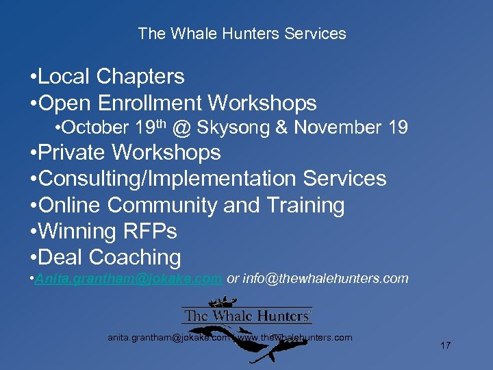 The Whale Hunters Services • Local Chapters • Open Enrollment Workshops • October 19