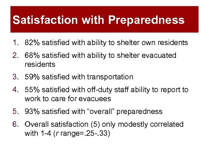Satisfaction with Preparedness 1. 82% satisfied with ability to shelter own residents 2. 68%
