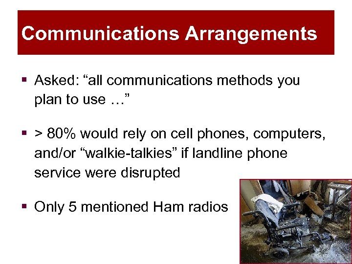 "Communications Arrangements § Asked: ""all communications methods you plan to use …"" § >"