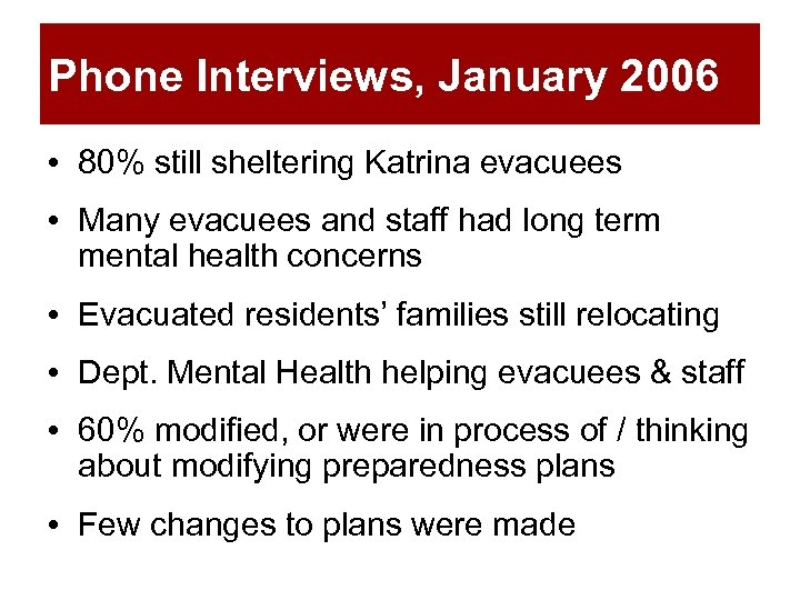 Phone Interviews, January 2006 • 80% still sheltering Katrina evacuees • Many evacuees and