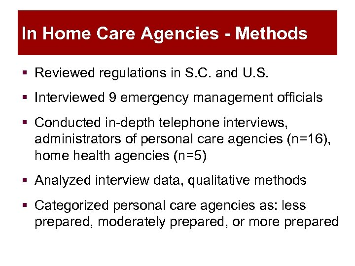 In Home Care Agencies - Methods § Reviewed regulations in S. C. and U.