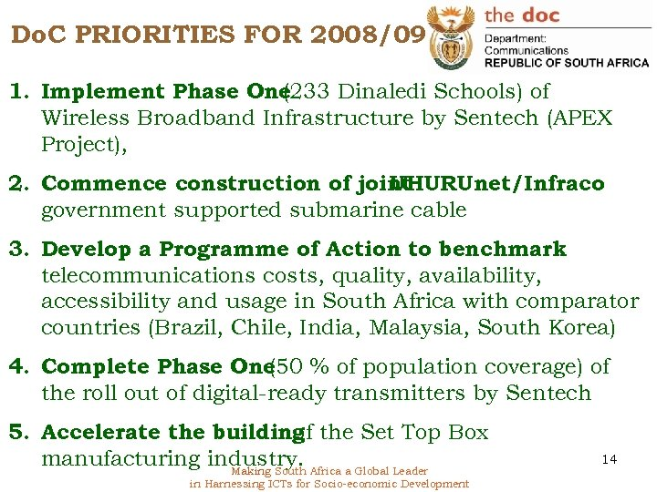 Do. C PRIORITIES FOR 2008/09 1. Implement Phase One (233 Dinaledi Schools) of Wireless