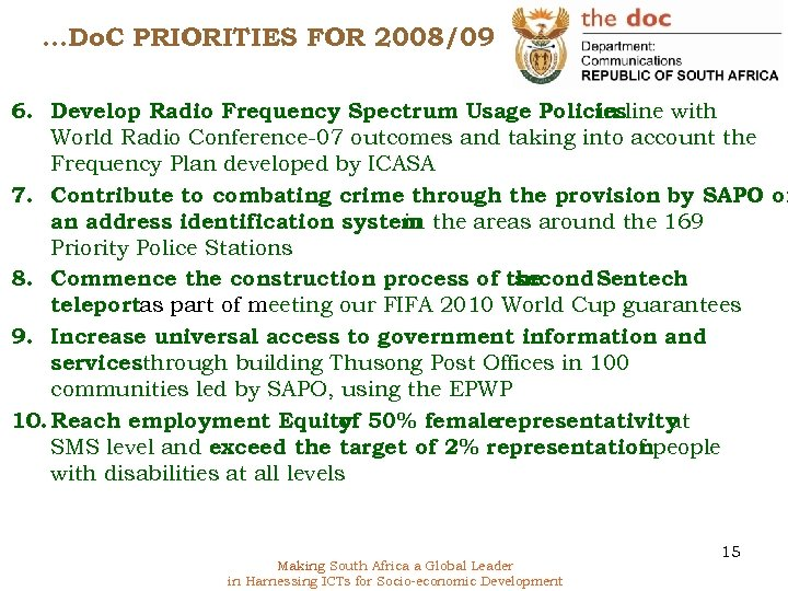 …Do. C PRIORITIES FOR 2008/09 6. Develop Radio Frequency Spectrum Usage Policiesline with in