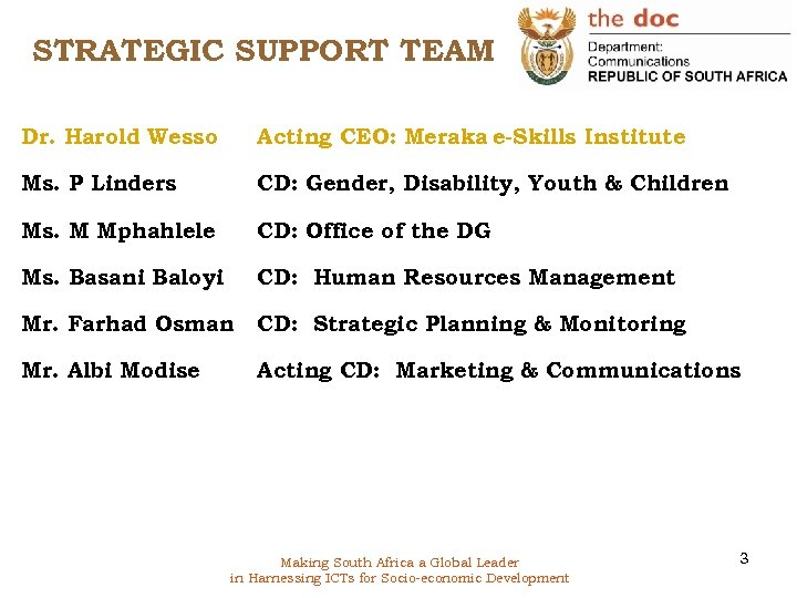 STRATEGIC SUPPORT TEAM Dr. Harold Wesso Acting CEO: Meraka e-Skills Institute Ms. P Linders