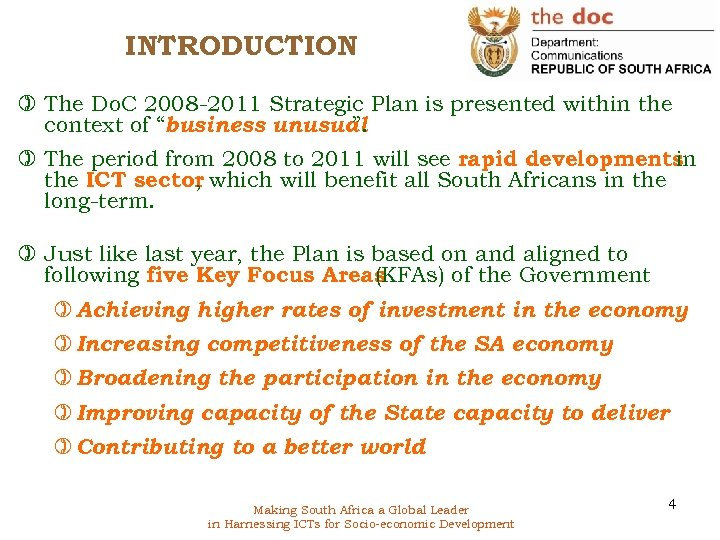 INTRODUCTION ) The Do. C 2008 -2011 Strategic Plan is presented within the context