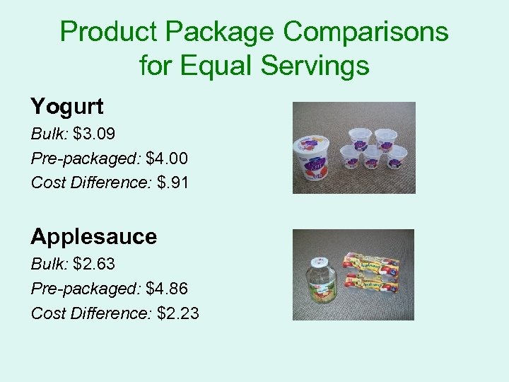 Product Package Comparisons for Equal Servings Yogurt Bulk: $3. 09 Pre-packaged: $4. 00 Cost