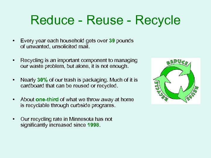 Reduce - Reuse - Recycle • Every year each household gets over 39 pounds