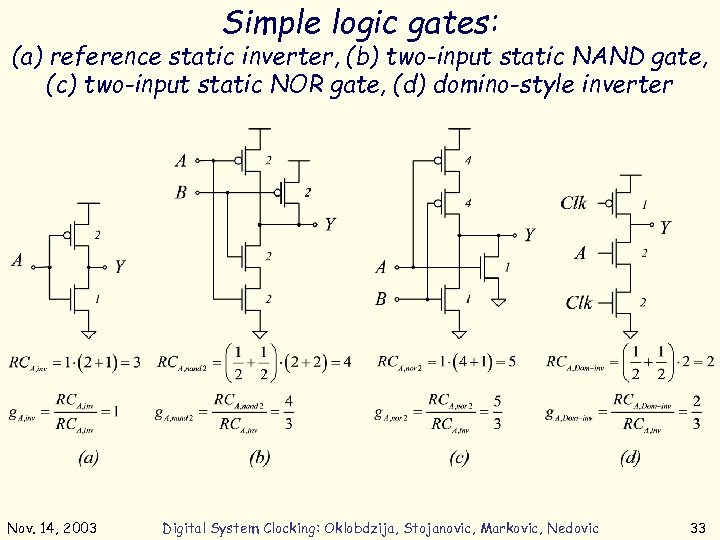 Simple logic gates: (a) reference static inverter, (b) two-input static NAND gate, (c) two-input