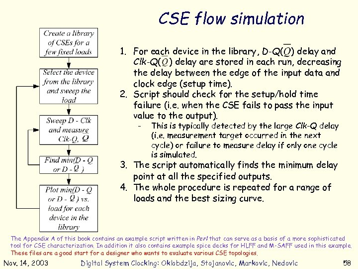 CSE flow simulation 1. For each device in the library, D-Q( ) delay and