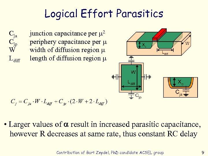 Logical Effort Parasitics Cja Cjp W Ldiff junction capacitance per m 2 periphery capacitance