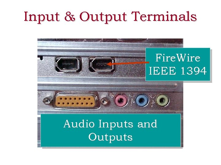 Input & Output Terminals Fire. Wire IEEE 1394 Audio Inputs and Outputs