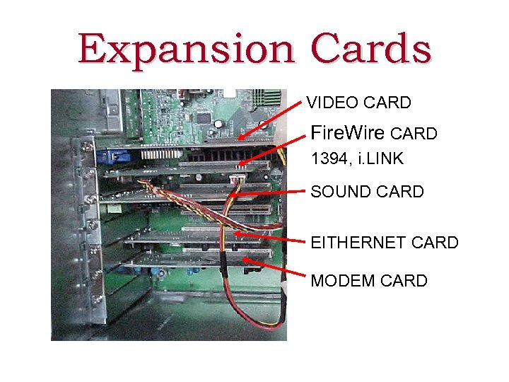 Expansion Cards VIDEO CARD Fire. Wire CARD 1394, i. LINK SOUND CARD EITHERNET CARD