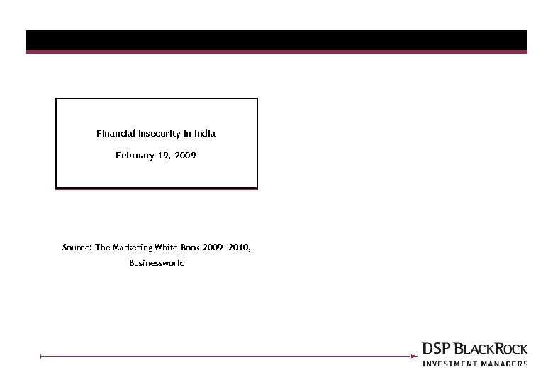 Financial Insecurity In India February 19, 2009 Source: The Marketing White Book 2009 -2010,