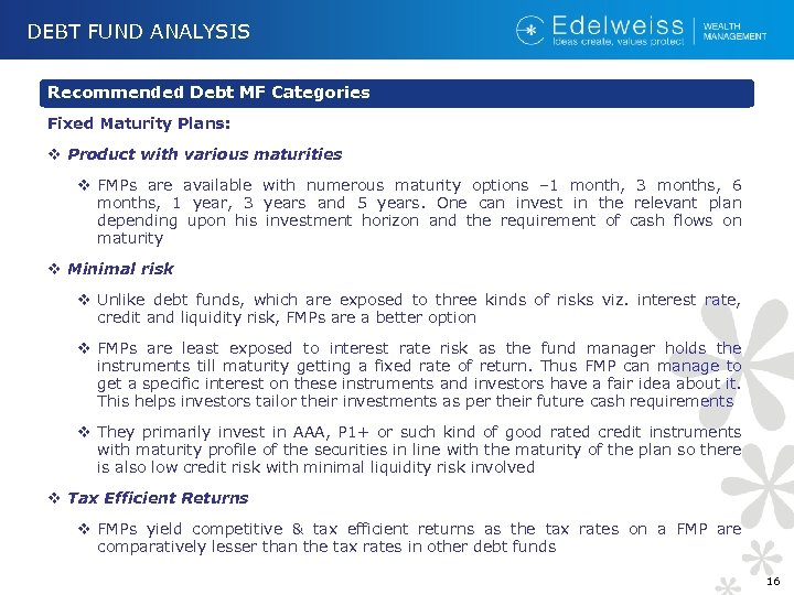 DEBT FUND ANALYSIS Recommended Debt MF Categories Fixed Maturity Plans: v Product with various