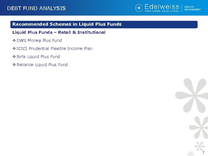 DEBT FUND ANALYSIS Recommended Schemes in Liquid Plus Funds – Retail & Institutional v